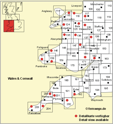 all os landranger maps for wales and cornwall in a list